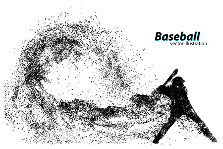 silhouette of a baseball player from particle. Text on a separate layer, color can be changed in one click 일러스트