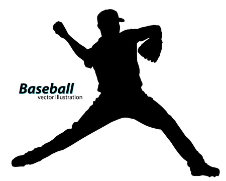homerun: silhouette of a baseball player. Text on a separate layer, color can be changed in one click