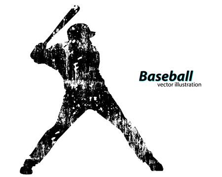 Silhouette d'un joueur de baseball. Texte sur une couche séparée, la couleur peut être changée en un seul clic Banque d'images - 67503149