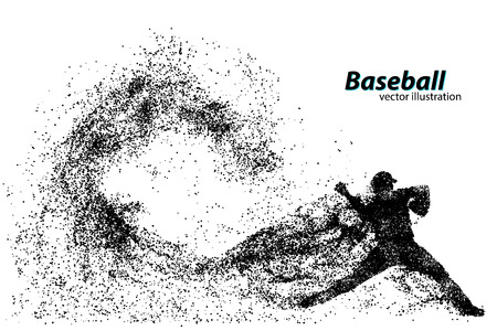 homerun: silhouette of a baseball player from particle. Text on a separate layer, color can be changed in one click Illustration