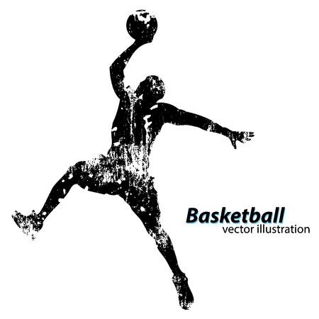 Silhouet van een basketbalspeler. Achtergrond en tekst op een aparte laag, kleur kan met één klik worden gewijzigd Stock Illustratie