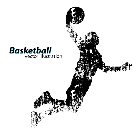 man jumping: Silhouette of a basketball player. Background and text on a separate layer, color can be changed in one click
