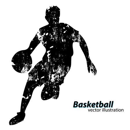 Silhouette d'un joueur de basket-ball. Contexte et texte sur une couche séparée, couleur peut être changée en un seul clic Banque d'images - 67503179