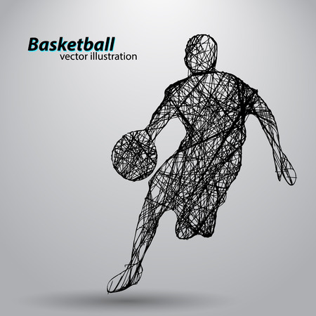 Silhouette of a basketball player. Background and text on a separate layer, color can be changed in one click Vetores
