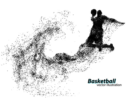 Basketball player from particles. Background and text on a separate layer, color can be changed in one click. Basketball abstract Vetores
