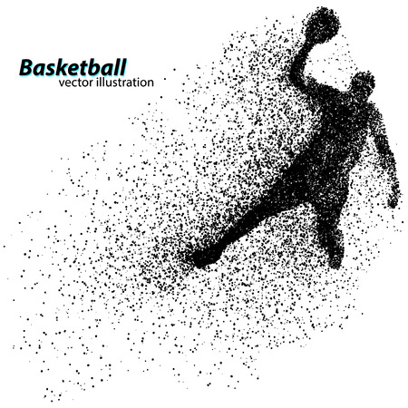 basketball dunk: Basketball player from particles. Background and text on a separate layer, color can be changed in one click. Basketball abstract