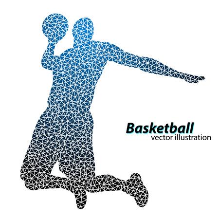 El jugador de baloncesto de los triángulos. Antecedentes y texto en una capa separada, color se puede cambiar en un solo clic