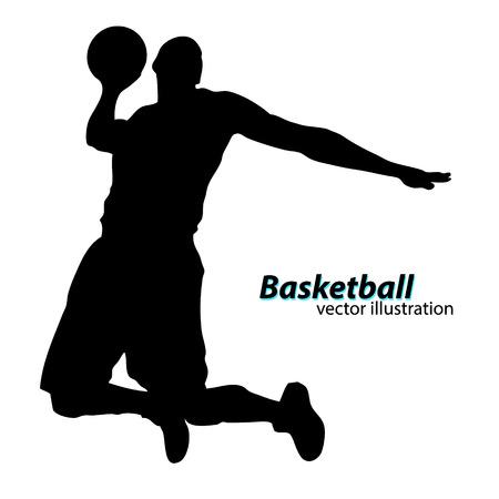 Silhouette d'un joueur de basket-ball. Contexte et texte sur une couche séparée, couleur peut être changée en un seul clic