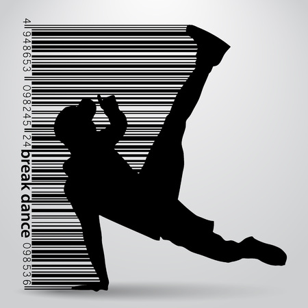 Silhouette of a break dancer. Background and text on a separate layer, color can be changed in one click Ilustracje wektorowe