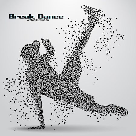 break in: Silhouette of a break dancer from triangles. Background and text on a separate layer, color can be changed in one click
