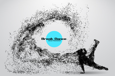 hip hop silhouette: Silhouette of a break dancer from particles. Background and text on a separate layer, color can be changed in one click Illustration