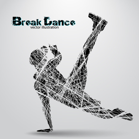 Silhouette of a break dancer. Background and text on a separate layer, color can be changed in one click