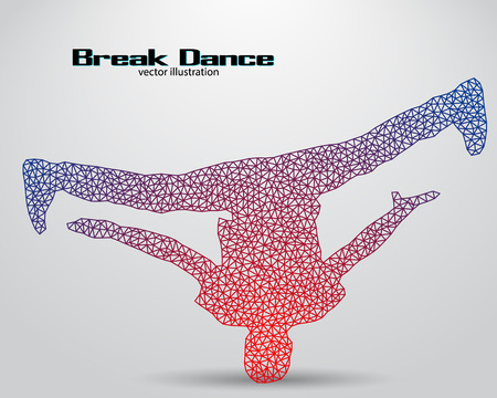 Silhouette of a break dancer from triangles. Background and text on a separate layer, color can be changed in one click