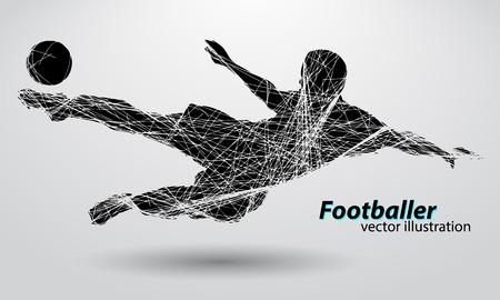 サッカー選手のシルエット。テキストと別のレイヤーに背景色をワンクリックで変更できます。  イラスト・ベクター素材