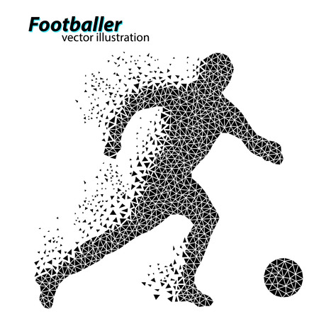 silhouette of a football player from triangles. Text and background on a separate layer, color can be changed in one click.