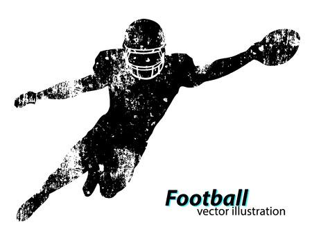 silhouet van een voetballer. Achtergrond en tekst op een aparte laag, kleur kan met één klik worden gewijzigd. Rugby. Amerikaans voetbal