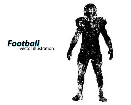 Silhueta de um jogador de futebol. Fundo e texto em uma camada separada, a cor pode ser alterada em um clique. Rugby. Futebol americano Foto de archivo - 67766956