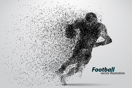 silhouette of a football player from particle. Background and text on a separate layer, color can be changed in one click. Rugby. American football