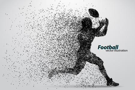 Silhouette eines Fußballspielers von Teilchen. Hintergrund und Text auf einer separaten Ebene, Farbe kann in einem einzigen Klick verändert werden. Rugby. American Football Standard-Bild - 67766982