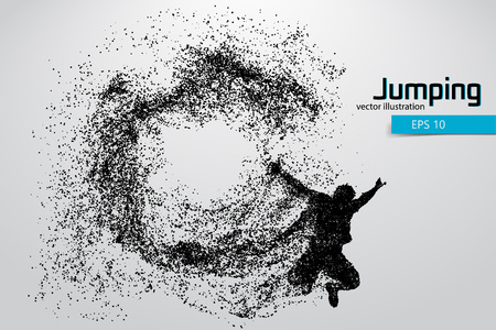 man jumping: Silhouette of a jumping man from particles. Text and background on a separate layer, color can be changed in one click.