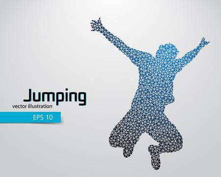 jump for joy: Silhouette of a jumping man from triangles. Text and background on a separate layer, color can be changed in one click.