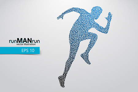 Silhouette of a running man from triangle. Text and background on a separate layer, color can be changed in one click