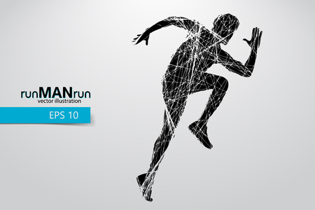 Silhouette of a running man. Text and background on a separate layer, color can be changed in one click.