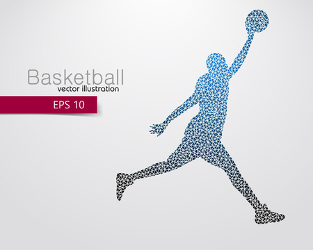 man jumping: Basketball player of the triangles. Background and text on a separate layer, color can be changed in one click Illustration