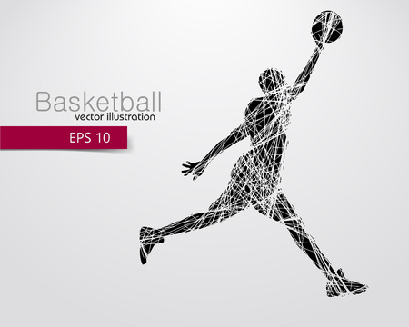 バスケット ボール選手のシルエット。別のレイヤーの背景とテキスト色をワンクリックで変更できます
