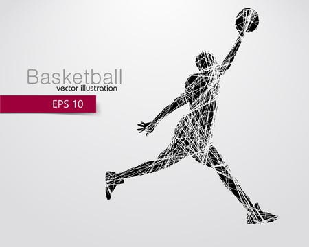 Silhouet van een basketbalspeler. Achtergrond en de tekst op een aparte laag, kleur kan worden veranderd in één klik