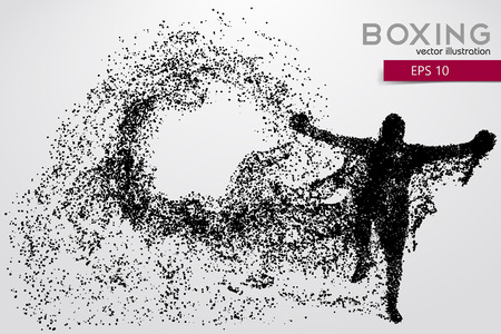 changed: Boxer silhouette from particles. Background and text on a separate layer, color can be changed in one click.