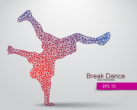 Silhouette of a break dancer from triangles. Background and text on a separate layer, color can be changed in one click.