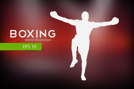 group fitness: Boxer silhouette. Background and text on a separate layer, color can be changed in one click.