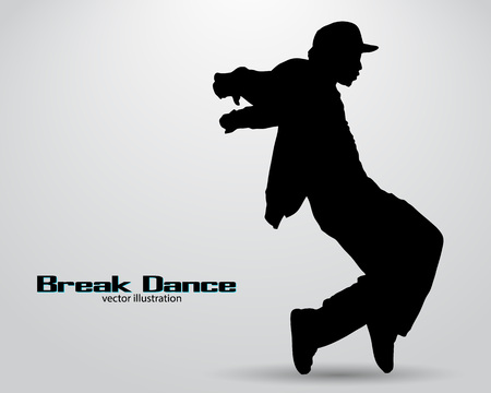 break in: Silhouette of a break dancer. Background and text on a separate layer, color can be changed in one click