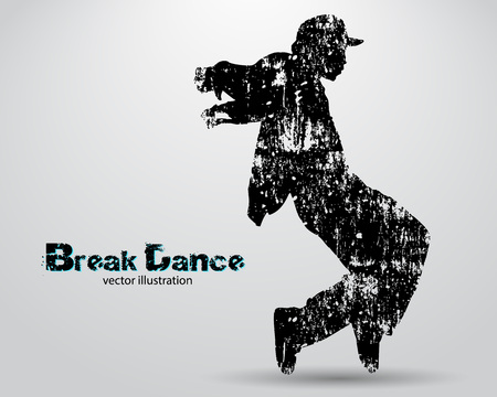 Silueta de un bailarín de la rotura. Antecedentes y texto en una capa separada, color se puede cambiar en un solo clic Ilustración de vector