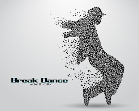 Silhouet van een pauze danser uit driehoeken. Achtergrond en de tekst op een aparte laag, kleur kan worden veranderd in één klik
