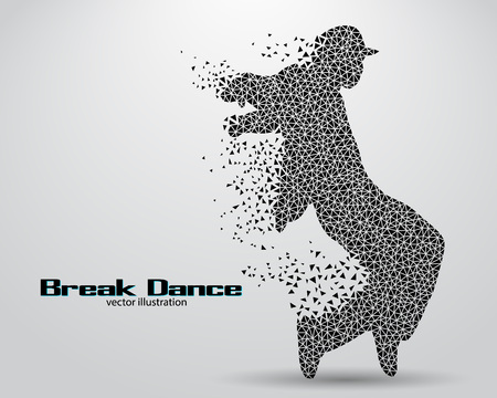 Silhouette di un ballerino di break da triangoli. Contesto e testo su un livello separato, il colore può essere modificato in un solo clic Archivio Fotografico - 67770808