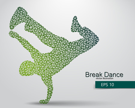break in: Silhouette of a break dancer from triangles. Background and text on a separate layer, color can be changed in one click.