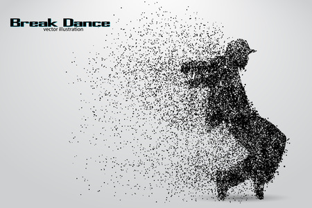 break: Silhouette of a break dancer from particles. Background and text on a separate layer, color can be changed in one click Illustration