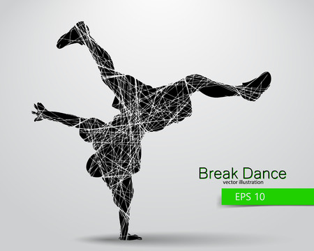changed: Silhouette of a break dancer. Background and text on a separate layer, color can be changed in one click.