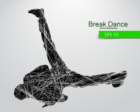 Silueta de un bailarín de la rotura. Antecedentes y texto en una capa separada, color se puede cambiar en un solo clic.
