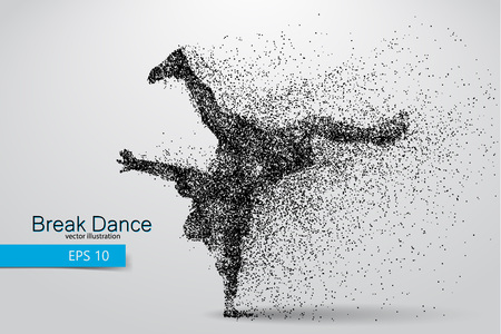 changed: Silhouette of a break dancer from particles. Background and text on a separate layer, color can be changed in one click. Illustration
