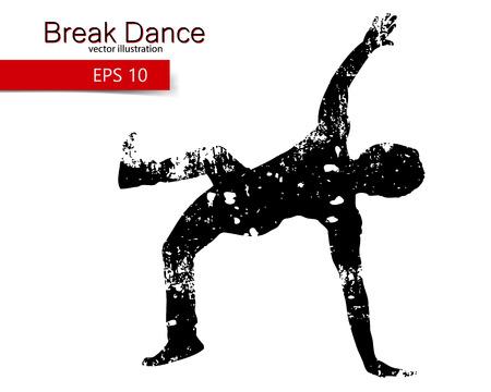 hip hop silhouette: Silhouette of a break dancer. Background and text on a separate layer, color can be changed in one click.