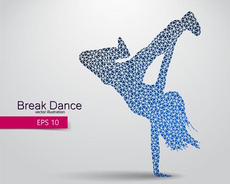 Silhouette eines Breakdancer aus Dreiecken. Hintergrund und Text auf einer separaten Ebene, Farbe kann in einem einzigen Klick verändert werden. Standard-Bild - 67770847