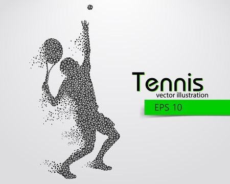 Silhouette of a tennis player from triangles. Text and background on a separate layer, color can be changed in one click. Illustration