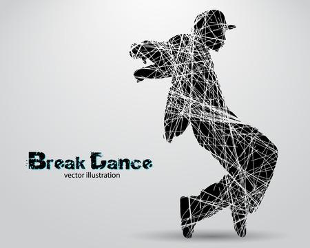 Silhouette di un ballerino di break dance. Sfondo e il testo su un livello separato, colore può essere cambiato in uno scatto Vettoriali