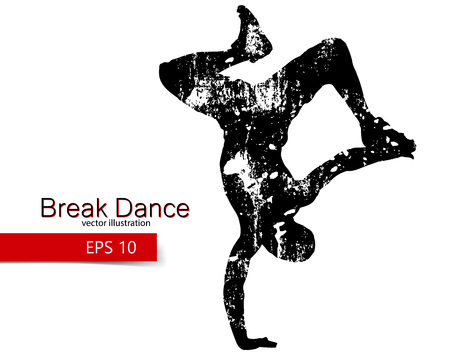 Silhouette of a break dancer. Background and text on a separate layer, color can be changed in one click.