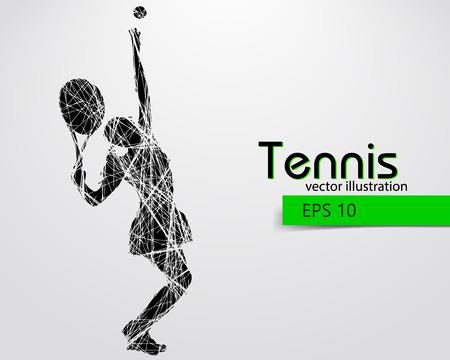 テニス選手のシルエット。テキストと別のレイヤーに背景色をワンクリックで変更できます。