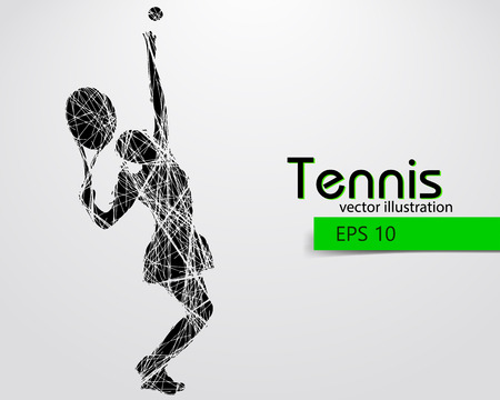 Silhouette of a tennis player. Text and background on a separate layer, color can be changed in one click. Illustration