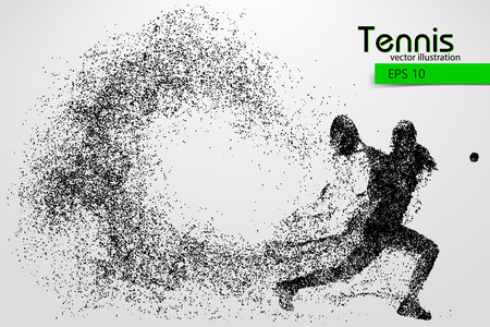 Silhouette of a tennis player from particles. Text and background on a separate layer, color can be changed in one click.